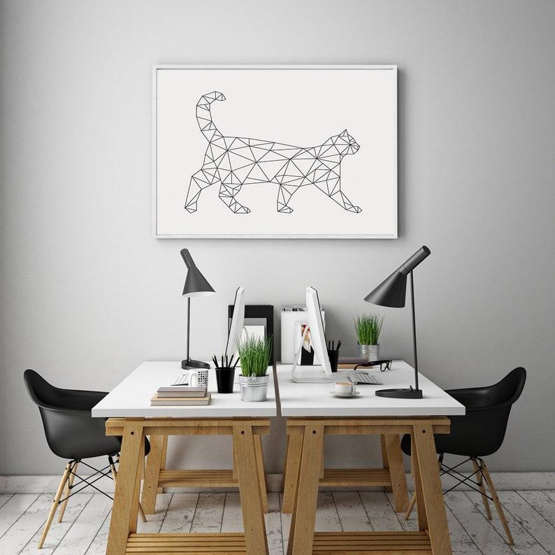 Stampa geometrica animale Arte parete bianca e nera stampa ...