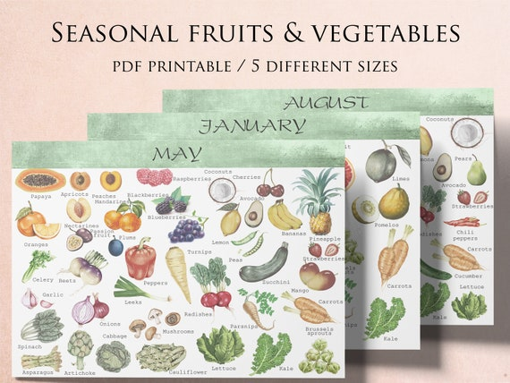 Seasonal Fruits And Vegetables Seasonal Produce Calendar Etsy