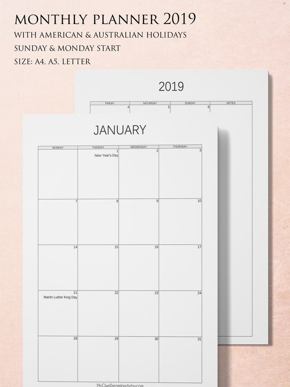 Planner 2019 Printable Monthly Calendar Printable 2 Page Etsy