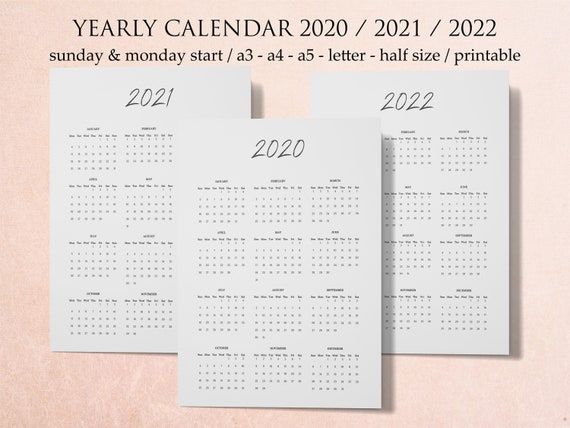 Yearly Calendar Printable 2020 Calendar Wall Minimalist | Etsy
