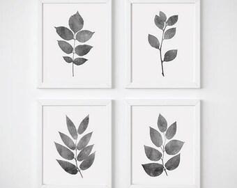 Botanical Wall Art, Print Set of 4, Leaves Wall Art, Botanical Print Set, Gray Leaf Prints, Leaf Print, Watercolor Leaves, Botanical Print