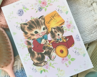 Vintage style handmade notepad - Cats - Good times.