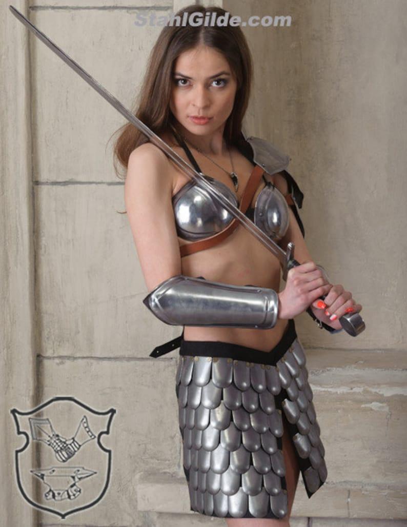 pauldron greaves Female Fantasy Costume Cosplay Viking Heroine of Arena steel  armor arm bracers