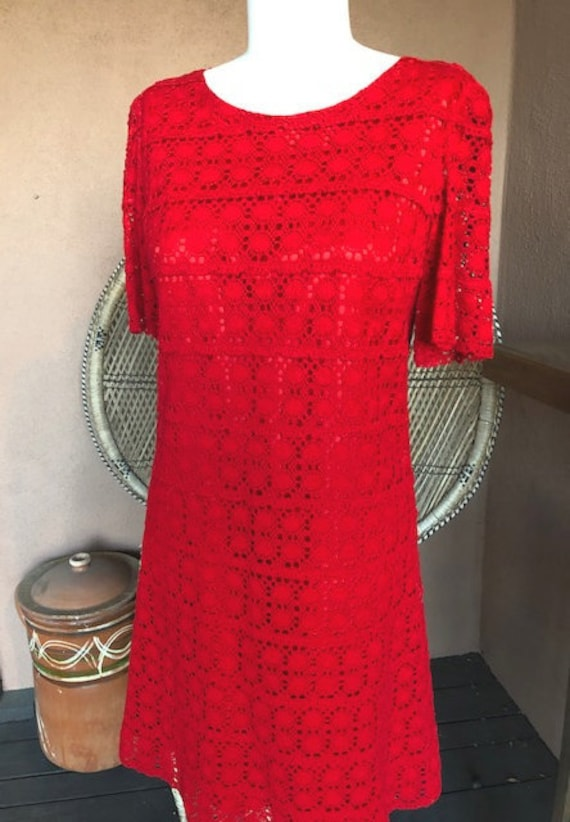 1960s/1970s Red Crochet Shift Dress