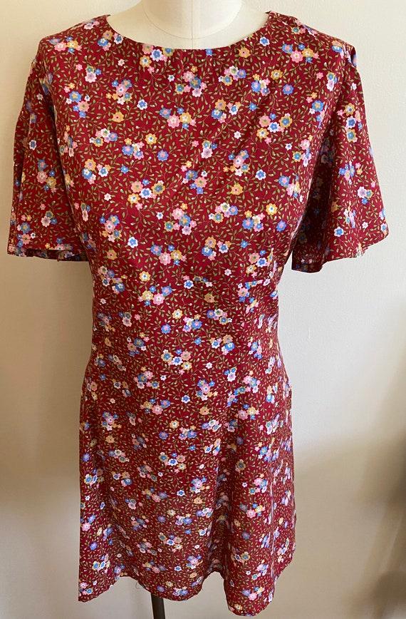 1970s flutter sleeve mini dress
