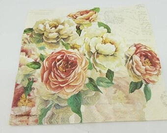 floral rose 20 x Madeline decorative luncheon napkins 33cm decoupage