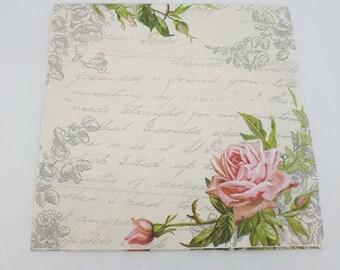 20 x love letter decorative luncheon napkins for decoupage- 33cm - cream - pink- roses - script- floral -