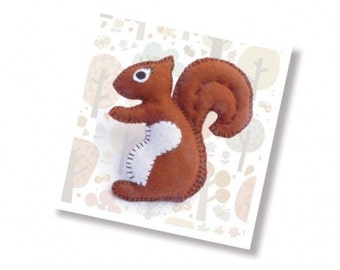 learn to sew kit- learn to sew a felt squirrel - beginners sewing kit - sewing supplies - small craft gift