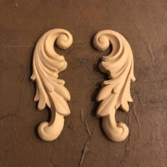 Set of Two French Provincial Winged Flexible Scroll Appliques