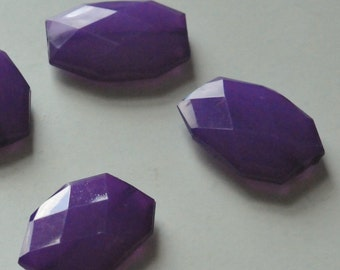 Dark Purple, Faceted Acrylic Beads, Chunky Beads, 34x24mm, Translucent Acrylic Flat Polygon, Nugget Beads, 10 Pieces, Shipping from USA