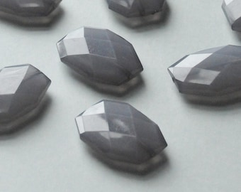 Gray, Faceted Acrylic Beads, Chunky Beads, 34x24mm, Translucent Acrylic Flat Polygon, Nugget Beads, 10 Pieces, Fast Shipping from USA