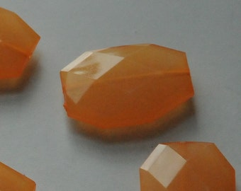 Orange, Faceted Acrylic Beads, Chunky Beads, 34x24mm, Translucent Acrylic Flat Polygon, Nugget Beads, 10 Pieces, Shipping from USA