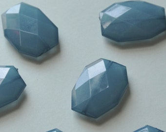 Ocean Blue, Faceted Acrylic Beads, Chunky Beads, 34x24mm, Translucent Acrylic Flat Polygon, Nugget Beads, 10 Pieces, Fast Shipping from USA