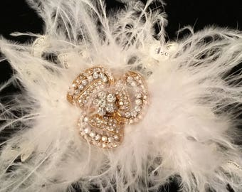 Ivory ostrich feather bridal hair piece