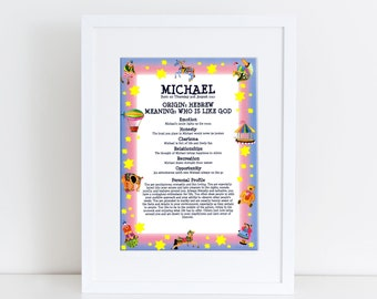 Custom first name meaning print unique gift personalised custom first name meaning print personalized baby gifts boy girl birthday gifts unique gift personalised baby keepsake circus negle Choice Image