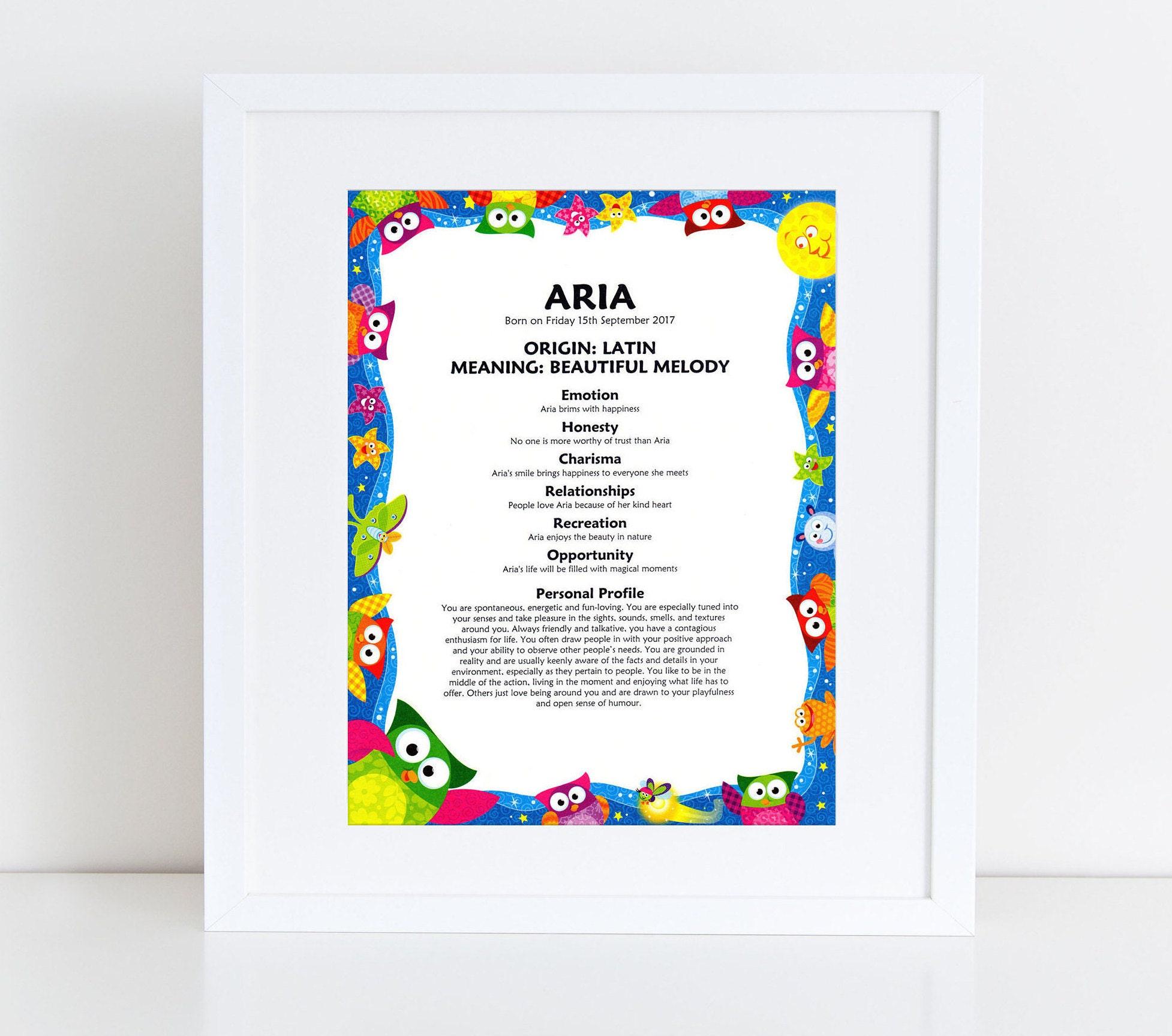 First Name Meaning /& Origin Print Beautiful Keepsake Gift for Newborn Baby