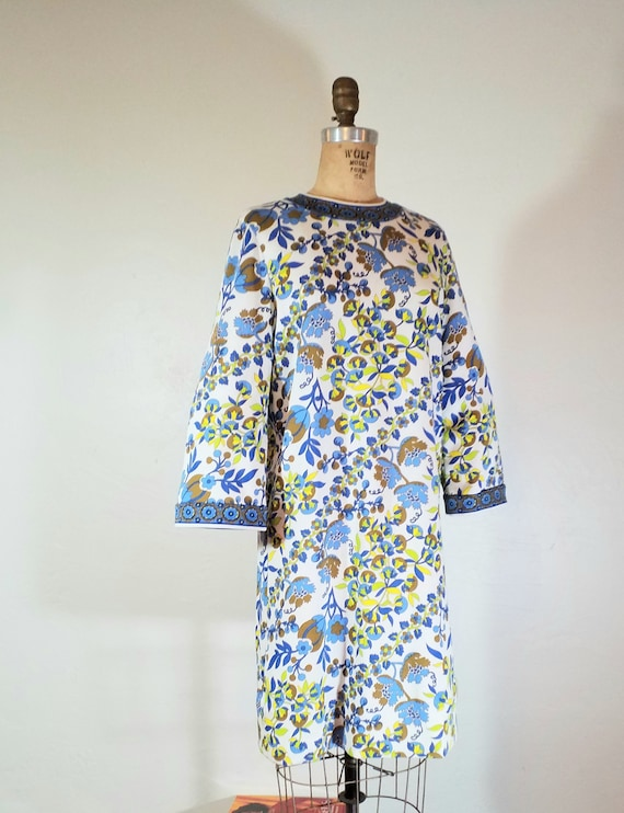 Goldworm Vintage Blue Floral Mini Dress