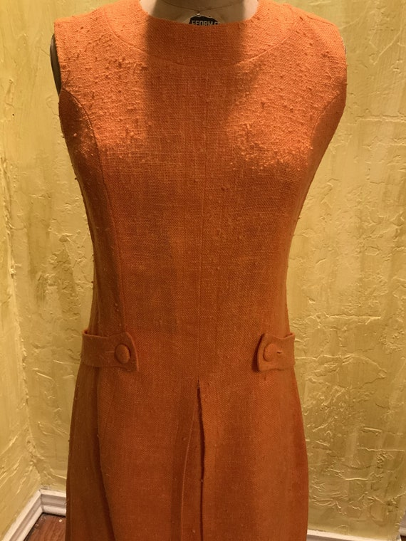 Vintage Linen Orange Day Dress