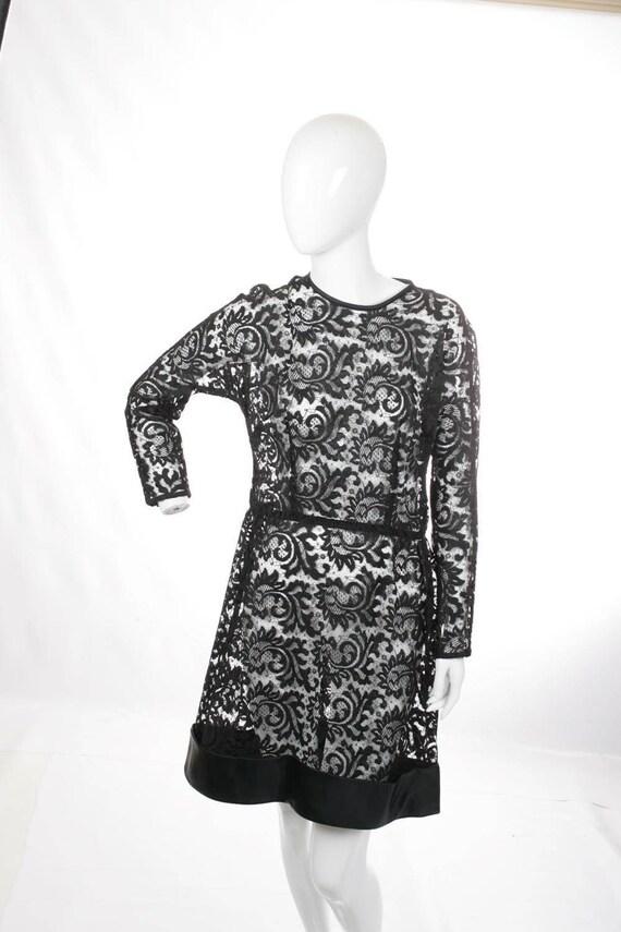 Sheer Lace Black Mini Dress