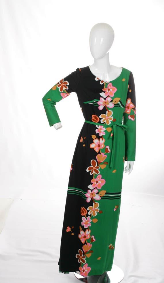 Vintage Color Block Floral Maxi Dress