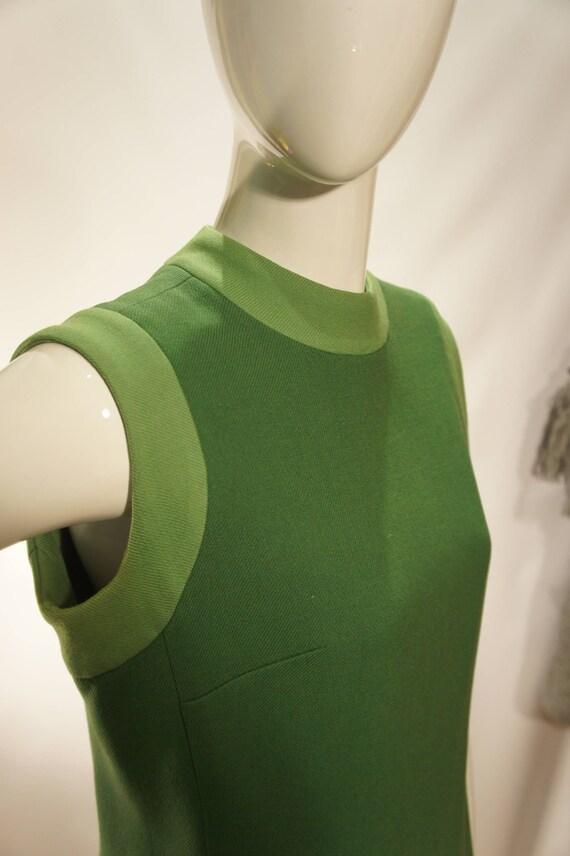 Vintage Wool Green Sleeveless Mod Sheath Dress
