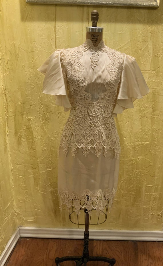 Vintage Silk Organza Ivory Dress