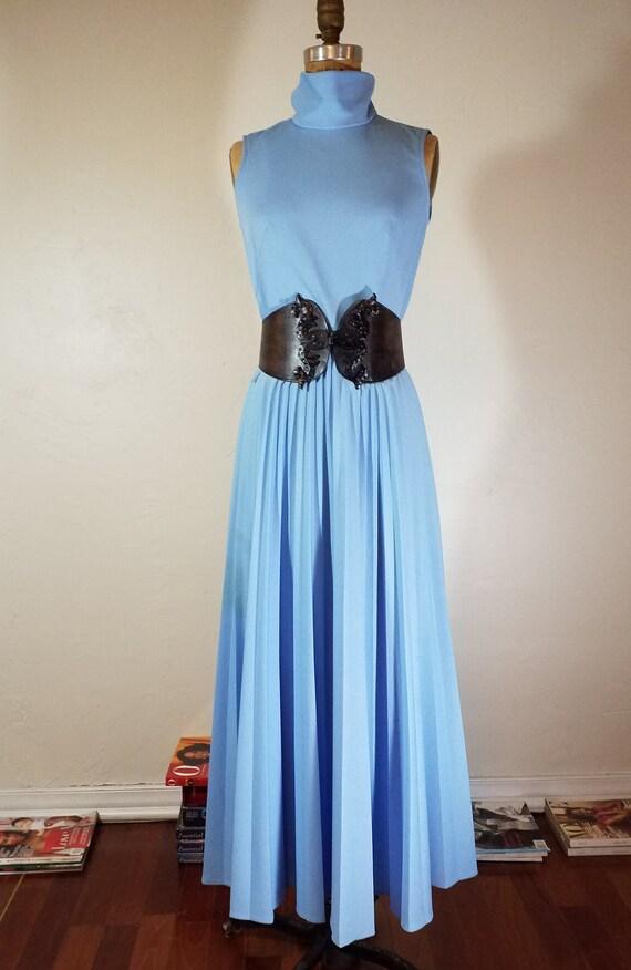 Vintage 60s MOD Pleated Maxi Dress Blue