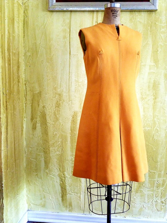 Designer Wool MOD Tangerine Mini Dress