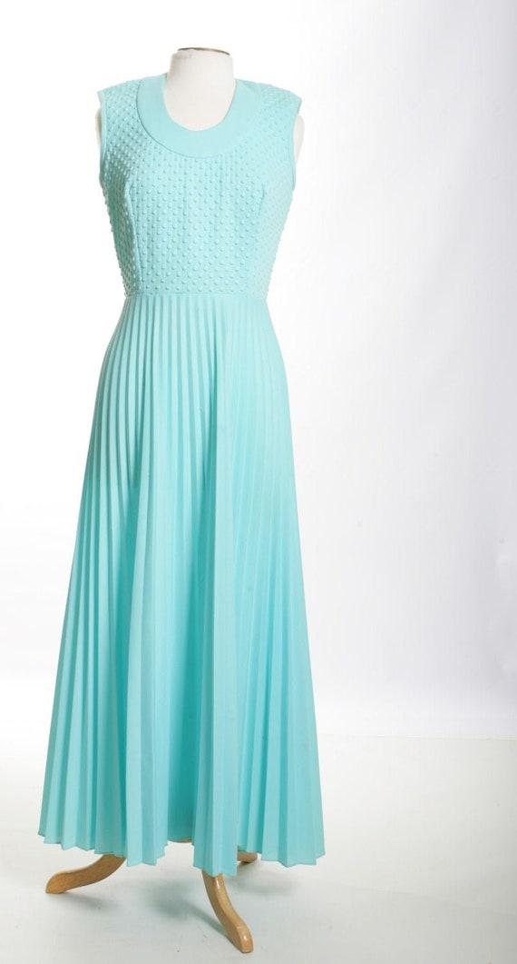 Pleated Mod Maxi Vintage Dress