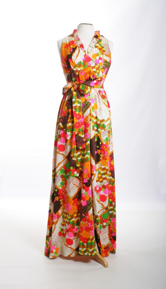 Psychedelic Madness Vintage Maxi Dress