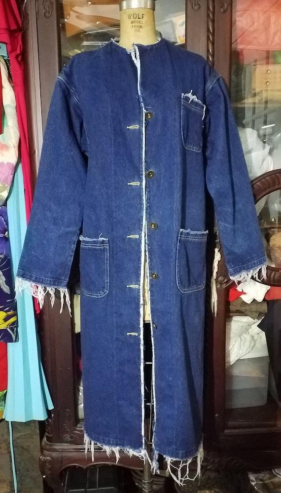 Vintage Lee Denim Trench Duster Coat