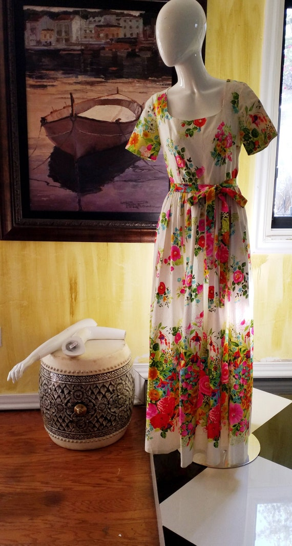 Vintage Floral Psychedelic Maxi Dress