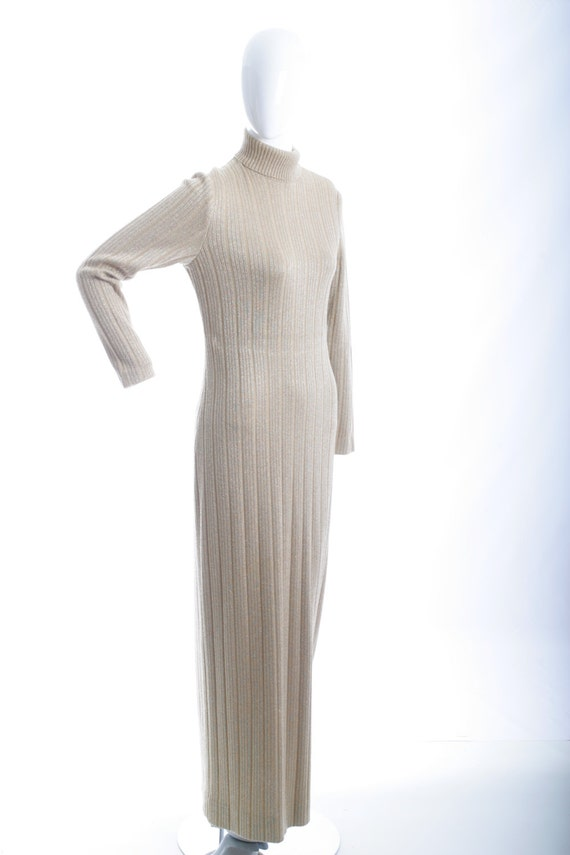 Clearance Sale Italian Vintage Knit Ribbed Maxi D… - image 1