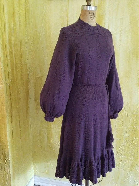 Retro Purple Sweater Dress
