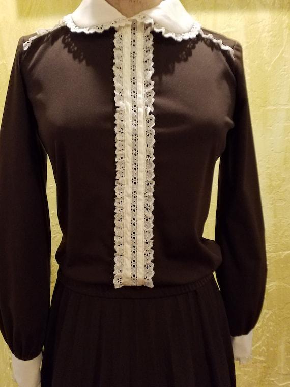 Retro Pleated Soft Polyknit Skirt Set