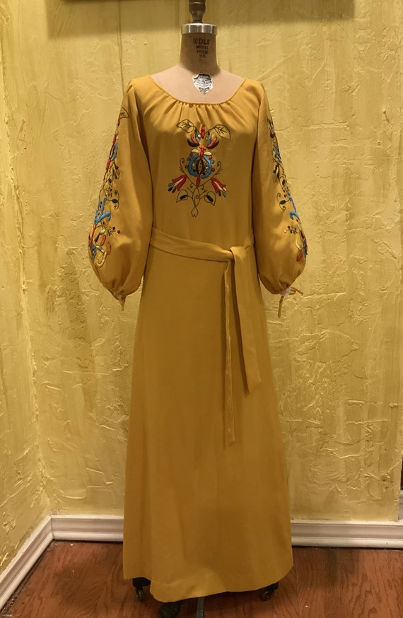 70s Crepe Mustard Yellow Dress w/ Embroidery