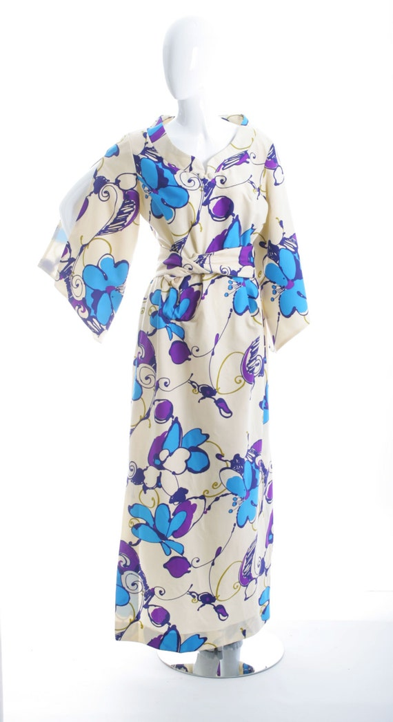 Hawaiian Floral Bell Sleeve Large Size Maxi Dress
