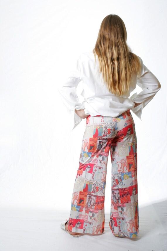 SALE Magazine Print BoHo Chic BellBottom Pants