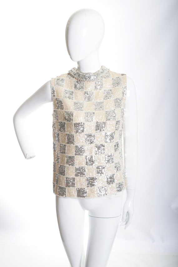 Checkered Vintage Sequin Disco Crop Top