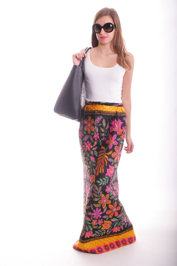 Vintage Quilted Psychedelic Floral Maxi Skirt