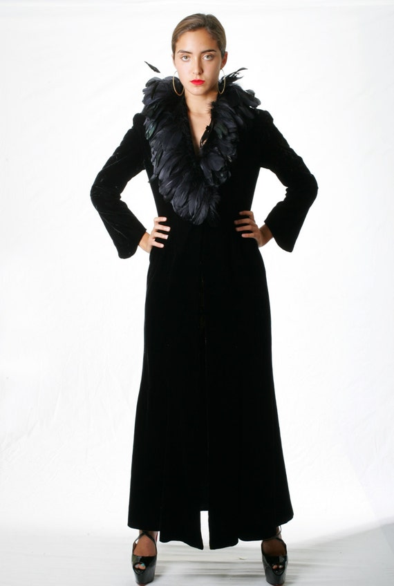 Vintage Couture Bespoke Velvet Theatre Coat with O