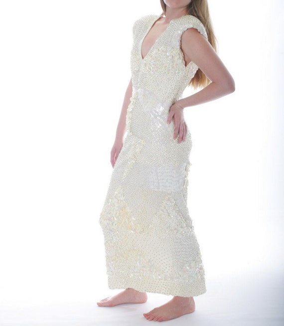 Stunning Beaded Sequin Vintage Couture Wedding Dre