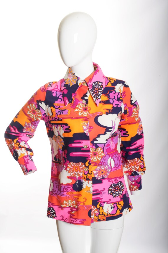 Beautiful Psychedelic Vintage Mod Blouse