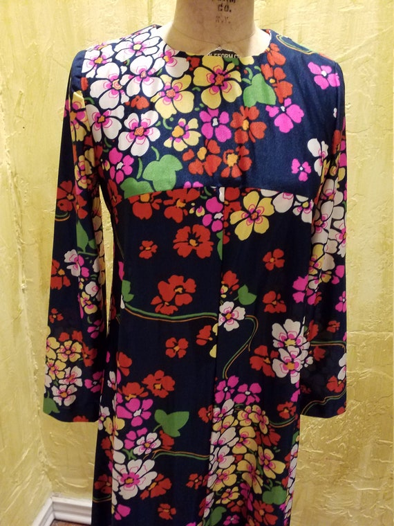 Vintage Psychedelic Floral Nylon Maxi Gown