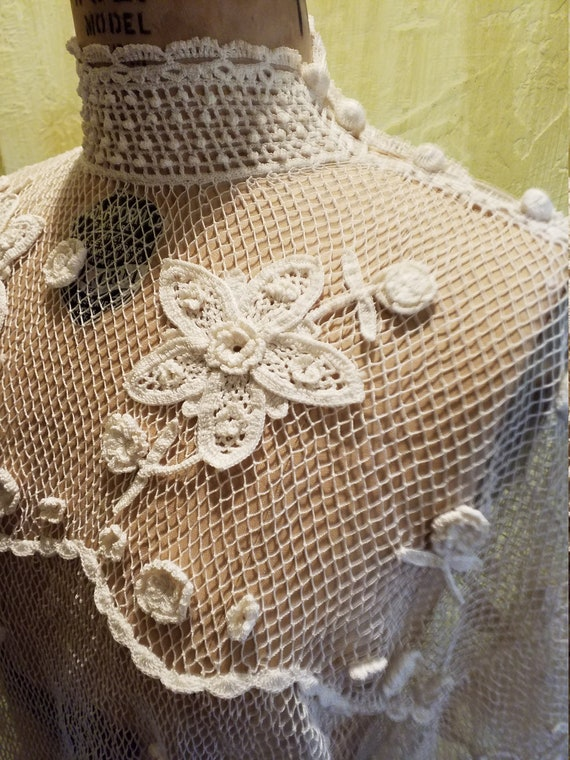 The Pretentious Snob white Crochet Blouse - image 3