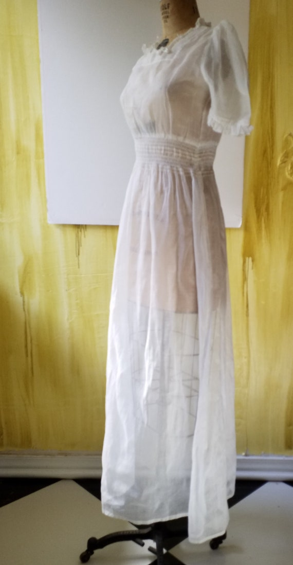 Vintage White Sheer Maxi Organdy Dress