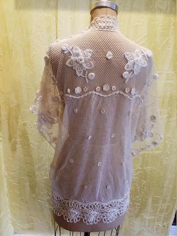 The Pretentious Snob white Crochet Blouse - image 7