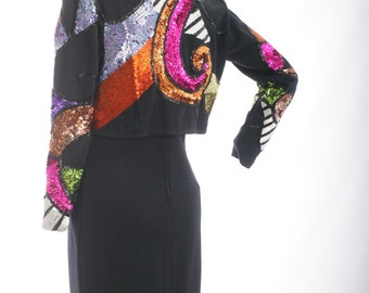 Closing Sale-Coupon Code Butterfly6HOLD Vintage 80s Sequined Crop Jacket and Body Con Dress