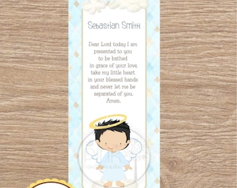Baptism Favor Cards  \u2022 Bookmark Baptism Angel Girl  \u2022 Recuerdo de Bautizo Ni\u00f1a Set of 12 Cards