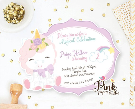 Unicorn Invitation Rainbow Birthday Invite Magical
